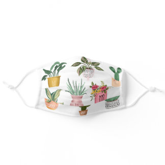 Plant Lady | Watercolor Potted Plants, White Adult Cloth Face Mask