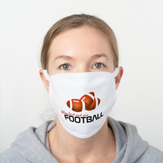 Play Hard And Win Football Sport White Cotton Face Mask