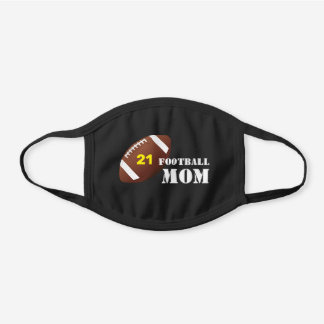 Player Number, Football Mom Black Cotton Face Mask