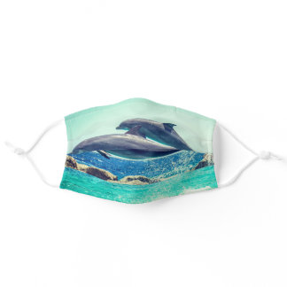 Playful dolphins blue sky and ocean- bestseller adult cloth face mask