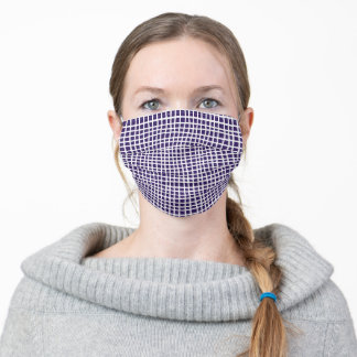 Plum Purple and White Criss Cross Lines Adult Cloth Face Mask