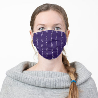 Plum Purple and White Cute Arrow Pattern Adult Cloth Face Mask