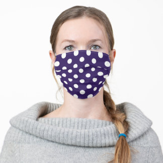 Plum Purple and White Large Polka Dot Pattern Adult Cloth Face Mask
