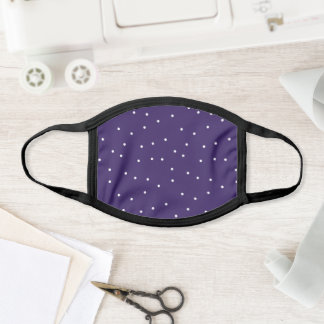 Plum Purple and White Random Dot Confetti Pattern Face Mask