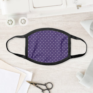 Plum Purple and White Solid Heart Pattern Face Mask