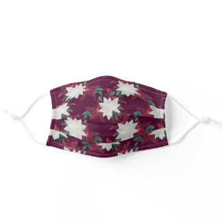 Poinsettia Burgundy and Teal Winter Holiday Floral Adult Cloth Face Mask