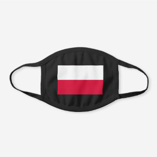 Poland Flag Polish Patriotic Black Cotton Face Mask