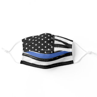 Police Grunge Thin Blue Line American Flag Adult Cloth Face Mask