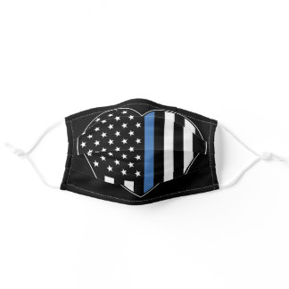 Police Thin Blue Line American Flag Heart Adult Cloth Face Mask