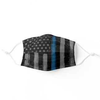 Police Thin Blue Line American Flag LEO Adult Cloth Face Mask