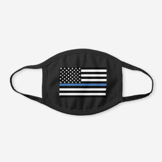 Police Thin Blue Line American Flag Officer Black Cotton Face Mask