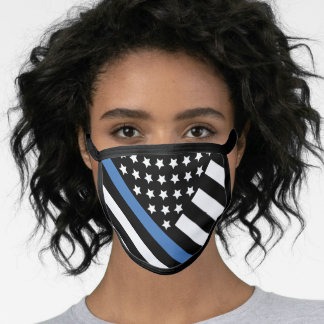 Police Thin Blue Line American Flag Officer Face Mask