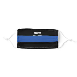 Police Thin Blue Line Monogram Name Adult Cloth Face Mask