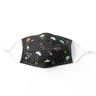 Polka Dot Black White Floral Trendy Cute Flower Adult Cloth Face Mask