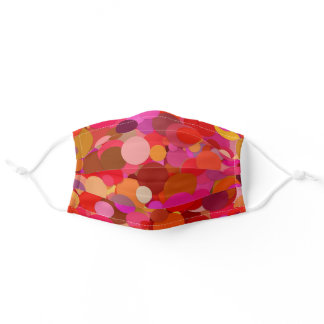Polka Dots || Red, Orange And Pink Colorful Spots Adult Cloth Face Mask