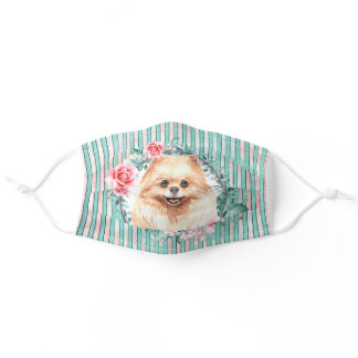 Pomeranian toy pom pet dog face watercolor rose adult cloth face mask