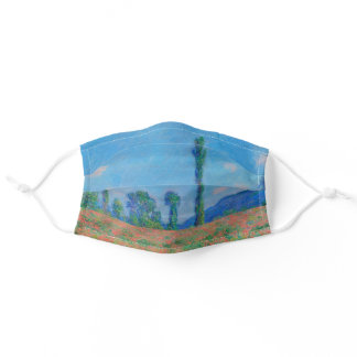 Poppies Blue Sky by Monet - Poppy Field Adult Cloth Face Mask