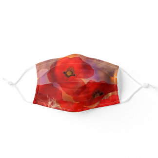 Poppies in a field adult cloth face mask