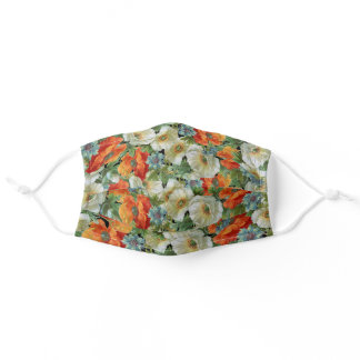 Poppy and Cornflowers Floral Pattern Face Mask