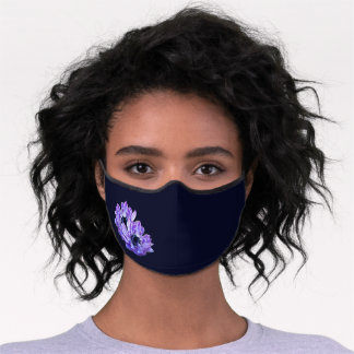 Poppy Anemone Flowers on Deep Blue Background Premium Face Mask