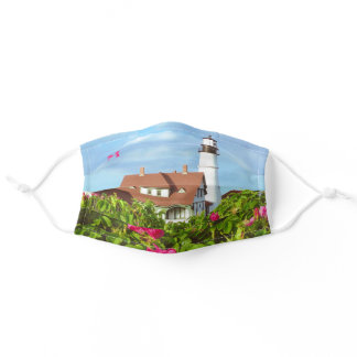 Portland Head Light Pink Roses Monogram Lighthouse Adult Cloth Face Mask