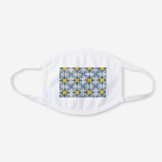 Portuguese Tiles - Azulejo Blue and Yellow Pattern White Cotton Face Mask