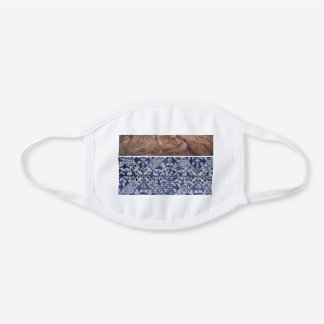 Portuguese Tiles Pattern with Rustic Wood Grain White Cotton Face Mask