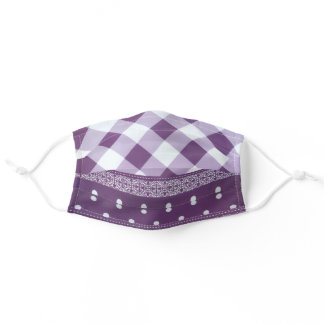 Posh Purple Tartan Plaid Corona Pandemic COVID19 Adult Cloth Face Mask