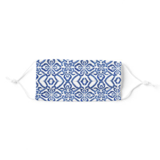 Positano Blue And White Vintage Tile Pattern Adult Cloth Face Mask