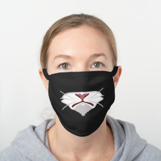 Pouty Kitty White Pink Nose Whiskers Cat Black Cotton Face Mask