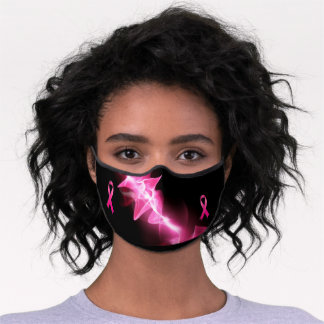 Power of Pink Breast Cancer Ribbon Women's Premium Face Mask