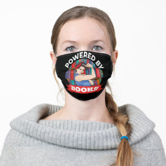 Powered By book lover For Mom bookworm librarian Adult Cloth Face Mask
