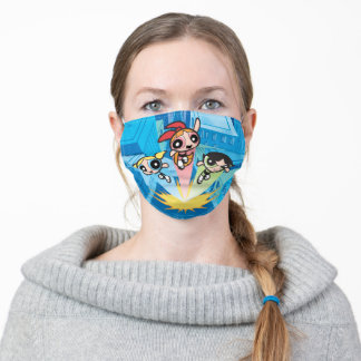 Powerpuff Girls Launch Into The Air Adult Cloth Face Mask