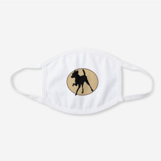 Prancing Chihuahua Silhouette White Cotton Face Mask