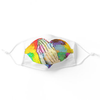 Praying Hands On Colorful Heart Adult Cloth Face Mask