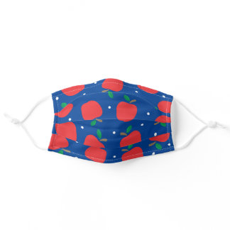 Preppy Apples & Dots on Navy Blue Teacher School Adult Cloth Face Mask
