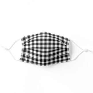 Preppy Black and White Gingham Plaid Pattern Adult Cloth Face Mask