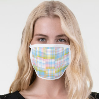 Preppy Pastel Patchwork Madras #2 Face Mask