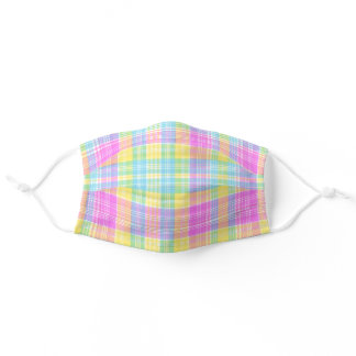 preppy summer plaid pastels watercolor adult cloth face mask
