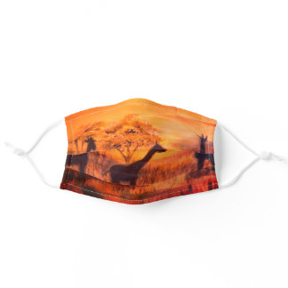 Pretty Africa Safari Cute Steppe Giraffes Orange Adult Cloth Face Mask