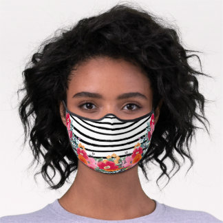Pretty Black Stripes & Pink Red Floral Premium Face Mask