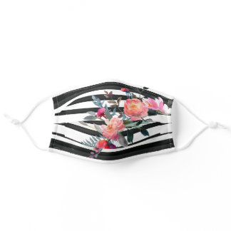 Pretty Black White Stripe & Pink Floral Bouquet Adult Cloth Face Mask