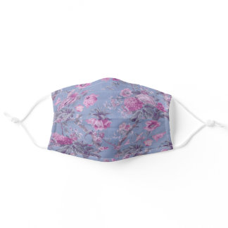 Pretty Blue and Pink Floral Adult Cloth Face Mask