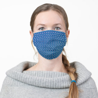 Pretty Blue and Teal Hearts Adult Cloth Face Mask
