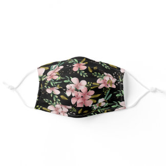 Pretty Blush Pink Flowers Black  Adult Cloth Face Mask
