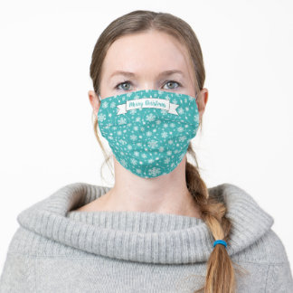 Pretty Bright Aqua Blue White Swirling Snowflakes Adult Cloth Face Mask