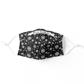 Pretty Bright Black and White Swirling Snowflakes Adult Cloth Face Mask