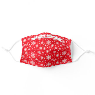 Pretty Bright Red and White Swirling Snowflakes Adult Cloth Face Mask
