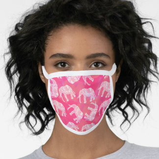 Pretty bright white pink floral elephant pattern face mask