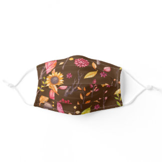 Pretty Brown Autumn Sunflower Botanical Pattern Adult Cloth Face Mask